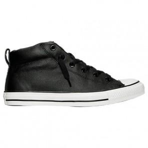 Noir / Blanc Converse Hommes Chuck Taylor All Star Street Mid Cuir Chaussure 143727C