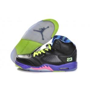 Homme Chaussures Air Jordan 5 Retro - Noir / Pourpre / Jeu Royal / Club Rose