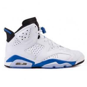 Air Jordan 6 Retro (Homme / Femme) Chaussures de course Blanc / Bleu / Noir 384664-107