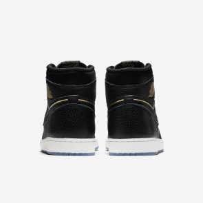 Femme/Homme Chaussures Basketball Air Jordan 1 Retro High OG Noir/Sommet blanc/Métallique Or 555088-031