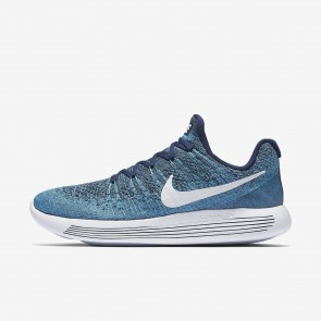 Nike LunarEpic Low Flyknit 2 Homme Bleu binaire / Chlorine Bleu / Ocean Fog / Blanc Chaussures 863779-402