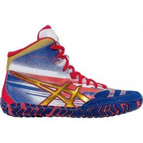 Asics Aggressor 2 L.E. Lightning Strike Vrai bleu / Rouge / Blanc - Chaussures de lutte Homme 35RBB