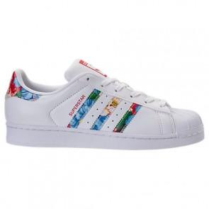 Adidas Superstar Femmes Chaussures Blanc / Blanc / Powder Rouge BB0532