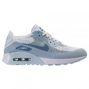 Femme Nike Air Max 90 Ultra 2.0 Flyknit Chaussures Blanc / Armurerie légère bleu / Glacier 881109 105