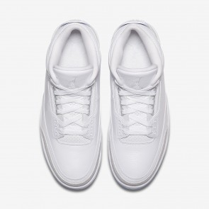 Hommes Air Jordan 3 Retro Chaussures de Basketball 136064-111 - Blanc/Blanc/Blanc