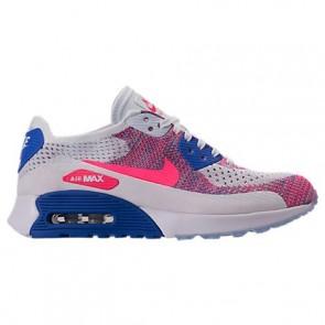 Femmes Nike Air Max 90 Ultra 2.0 Flyknit Blanc, Racer Rose, Bleu moyen Chaussures 881109 103