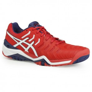 Asics Gel Resolution 7 Homme Chaussures de tennis - Rouge, Blanc, Bleu