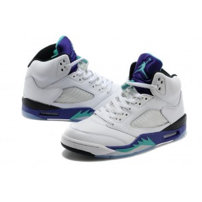 Air Jordan 5 Retro Hommes Chaussures de course Engraved Hardcover Edition Blanc / Noir / Pourpre