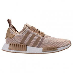 Adidas NMD Runner R1 Primeknit Hommes Chaussures Lin Kaki, Blanc BY1912