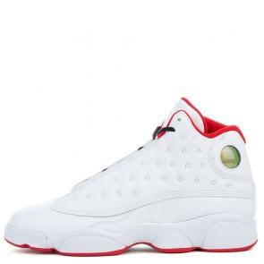 Femmes Chaussures Air Jordan 13 Retro BG Blanc, Argent métallique, Université Rouge
