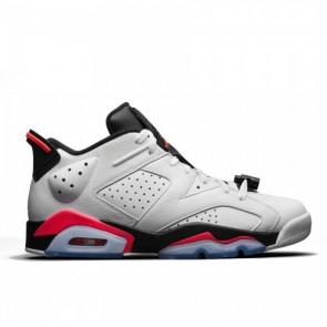 Air Jordan 6 Retro Low Hommes Blanc / Noir infrarouge Chaussures de course 304401-123