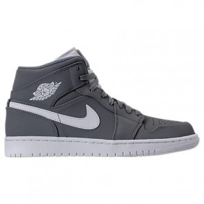 Air Jordan Retro 1 Mid Retro Hommes Chaussures 554724 036 Gris froid, Blanc Nubuck