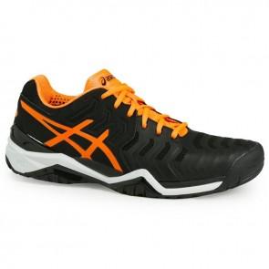 Noir / Shocking Orange / Blanc Asics Gel Resolution 7 Homme Chaussures de tennis