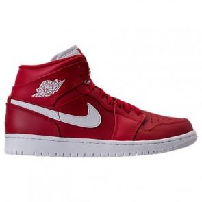 Hommes (Rouge / Blanc) Air Jordan Retro 1 Mid Retro Chaussure de basketball 554724 600